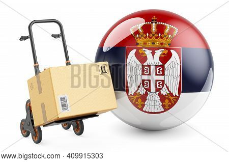 Parcel On The Hand Truck With Serbian Flag. Shipping In Serbia, Concept. 3d Rendering Isolated On Wh