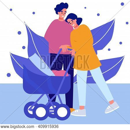 A Couple In Love With A Small Child In A Stroller, A Married Couple. A Couple With A Stroller, A Tra