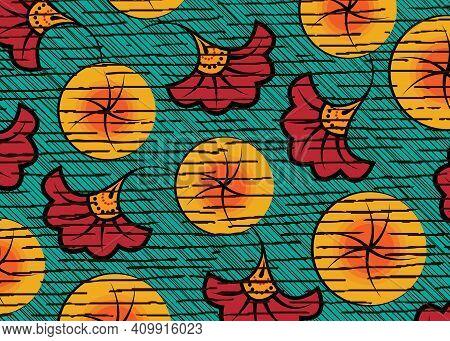 African Wax Print Fabric, Ethnic Handmade Ornament Design, Tribal Pattern Motifs Floral Elements. Ve