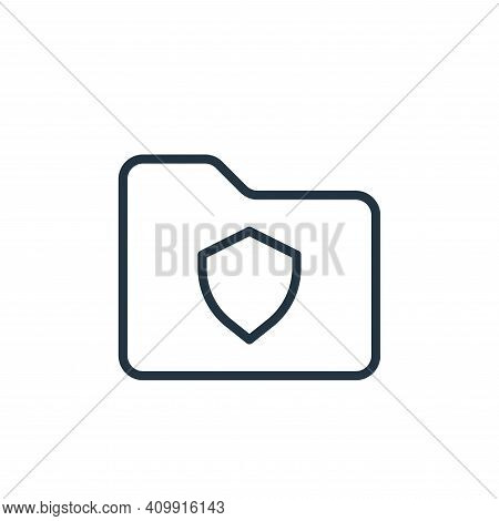 shield icon isolated on white background from folder collection. shield icon thin line outline linea