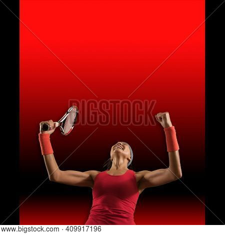 Player woman happy celebration winner . Advertising banner. Square copy space background