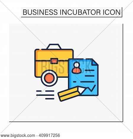 Register Business Color Icon. Registration Of New Startup. Concluding Contract, Startup Agreement. L