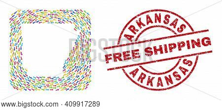 Vector Mosaic Arkansas State Map Of Rotation Arrows And Grunge Free Shipping Stamp. Mosaic Geographi