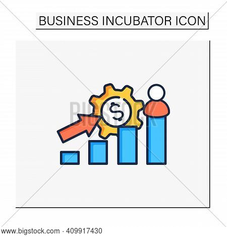 Growth Business Color Icon. Gradually Rise Of Business, Reaches Point For Expansion. Successful Comp