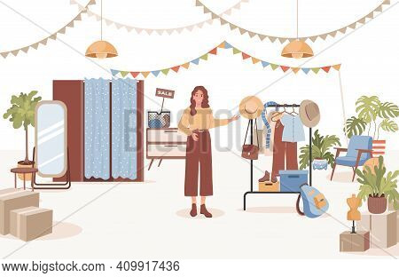 Smiling Woman Selling Vintage Clothes, Plants, And Furniture Vector Flat Illustration. Second Hand S