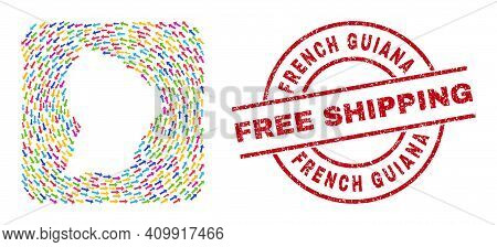 Vector Mosaic French Guiana Map Of Pointing Arrows And Rubber Free Shipping Seal. Collage Geographic