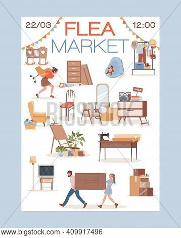 Flea Market Vector Flat Invitation Poster Design. Happy Smiling People, Men, And Women Carrying, Buy