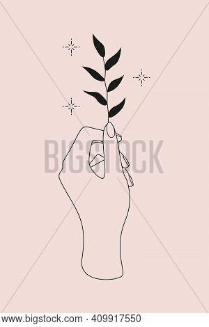 Mystic Logo With Magic Symbol Of Hand, Plant And Stars. Vector Illustration For Meditation Emblem, I