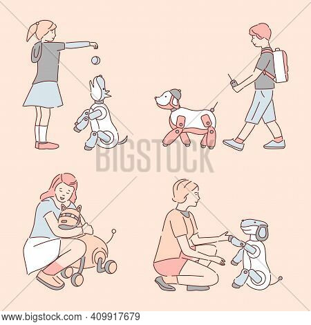 People Walking And Playing With Mechanical Pets Vector Cartoon Outline Illustration. Happy Smiling C