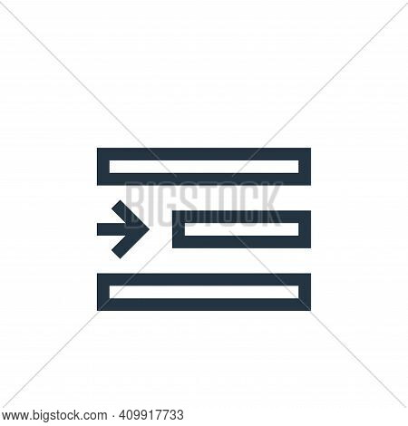 right indent icon isolated on white background from text editor collection. right indent icon thin l