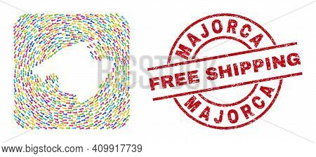 Vector Mosaic Majorca Map Of Direction Arrows And Grunge Free Shipping Stamp. Mosaic Geographic Majo
