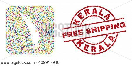 Vector Mosaic Kerala State Map Of Rotation Arrows And Rubber Free Shipping Badge. Collage Geographic