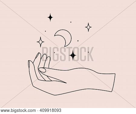 Mystical Logo With Magic Symbol Of Hand, Moon And Stars In Simple Style. Vector Illustration For Med