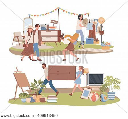 Garage Sale Outdoor Vector Flat Illustration. Men And Women Buying Vintage Clothes, Goods, And Home