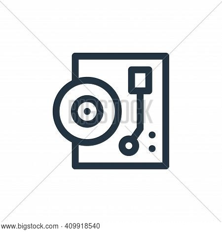 record player icon isolated on white background from music collection. record player icon thin line