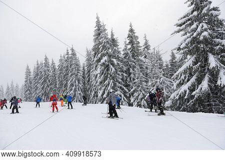 Bukovel, Ukraine - December 25:  The Skiers And Snowborders Are On Slope In Bukovel Ski Resort. It I