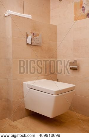Epmty Minimalistic Interior Background, Toilet Of Modern Apartment, Lavatory Closeup In Light Colors