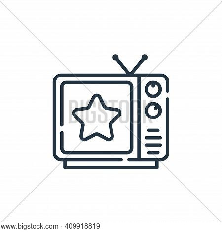 quiz on TV icon isolated on white background from fame collection. quiz on TV icon thin line outline