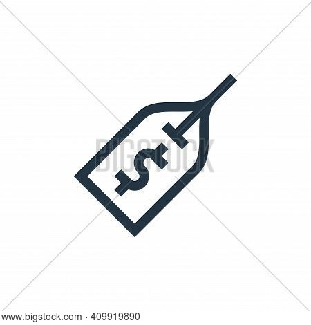 price tag icon isolated on white background from payment collection. price tag icon thin line outlin