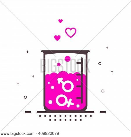 Heterosexual Love Concept, Flat Style Outlined Vector Illustration