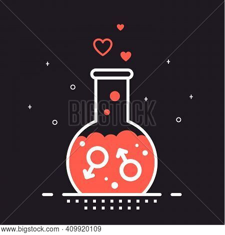 Homosexual Love Concept, Flat Style Outlined Vector Illustration