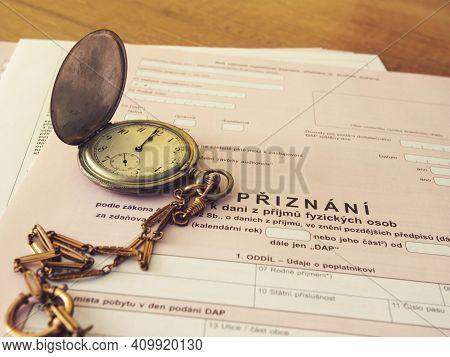 Czech Republic, Prague, 25 February 2021: Tax Form, Czech Declaration Of Corporation Taxes. Selectiv