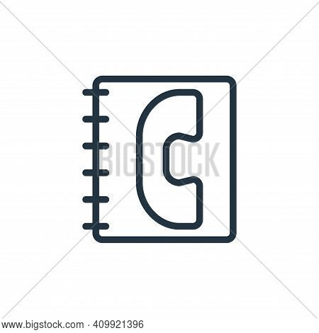 phone book icon isolated on white background from contact collection. phone book icon thin line outl