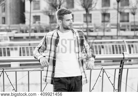 Giving Man Sense Of Style. Handsome Guy Lean On Railing Urban Outdoors. Sexy Man In Casual Style. Me