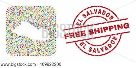 Vector Collage El Salvador Map Of Moving Arrows And Grunge Free Shipping Stamp. Collage Geographic E