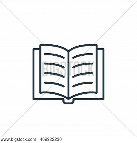 open book icon isolated on white background from education collection. open book icon thin line outl