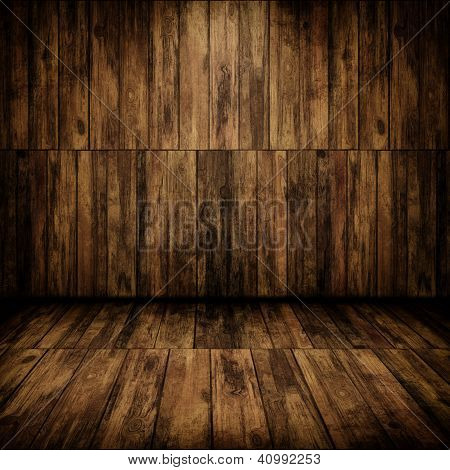 Grunge Cabin Interior With A Wooden Wall And Floor