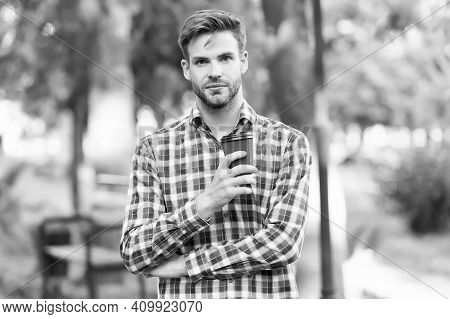 Unshaven Student Drink Morning Coffee. Good Morning Inspiration. Handsome Guy Wear Checkered Shirt A