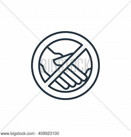 no handshake icon isolated on white background from coronavirus disease collection. no handshake ico
