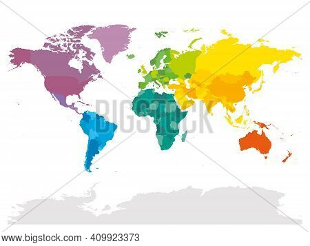 Colorful Political Map Of World. Different Colour Shade Of Each Continent. Blank Map Without Labels.