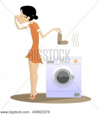 Woman Is Going To Wash Dirty Laundry In The Washing Machine Illustration. Young Woman Stands Near Wa