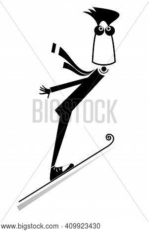Cartoon Young Man A Ski Jumper Illustration. Funny Young Man A Ski Jumper Black On White Illustratio
