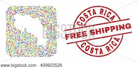 Vector Collage Costa Rica Map Of Delivery Arrows And Rubber Free Shipping Badge. Collage Geographic