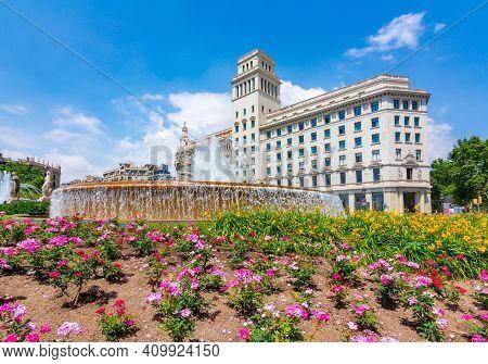 Catalonia Square (placa De Catalunya) In Center Of Barcelona, Spain