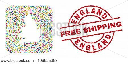 Vector Mosaic England Map Of Pointing Arrows And Rubber Free Shipping Badge. Mosaic Geographic Engla