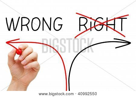 Choosing the Wrong way instead of the Right one. poster