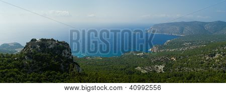 Venetian Castle Of Monolithos On Top Of A Mountain. Panoramic View