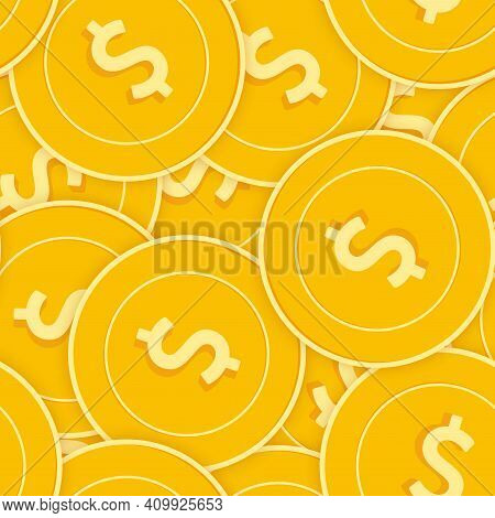 American Dollar Coins Seamless Pattern. Fetching Scattered Usd Coins. Big Win Or Success Concept. Us