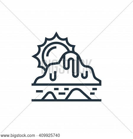 melting icon isolated on white background from climate change collection. melting icon thin line out