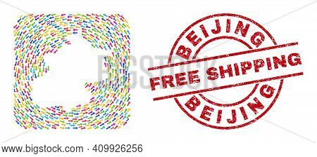Vector Collage Beijing City Map Of Swirl Arrows And Scratched Free Shipping Seal. Collage Geographic