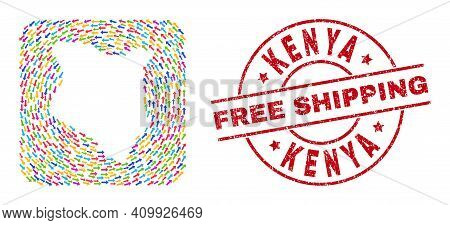 Vector Collage Kenya Map Of Swirl Arrows And Rubber Free Shipping Badge. Collage Geographic Kenya Ma