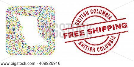 Vector Collage British Columbia Map Of Pointing Arrows And Rubber Free Shipping Badge. Collage Geogr