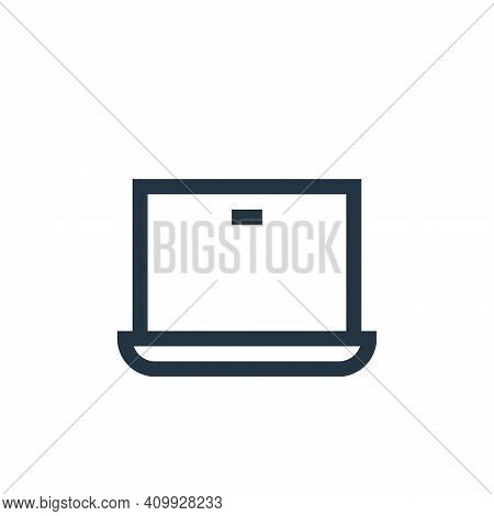 laptop icon isolated on white background from web essentials collection. laptop icon thin line outli