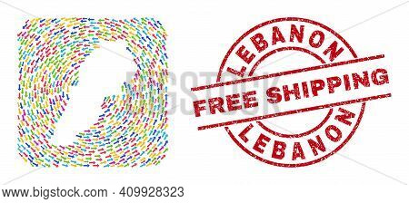Vector Mosaic Lebanon Map Of Rotation Arrows And Scratched Free Shipping Stamp. Mosaic Geographic Le