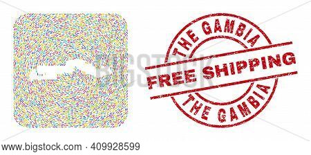 Vector Mosaic The Gambia Map Of Direction Arrows And Rubber Free Shipping Seal Stamp. Mosaic Geograp