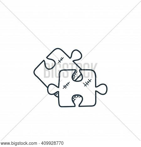 Jigsaw icon isolated on white background from technology collection. Jigsaw icon thin line outline l